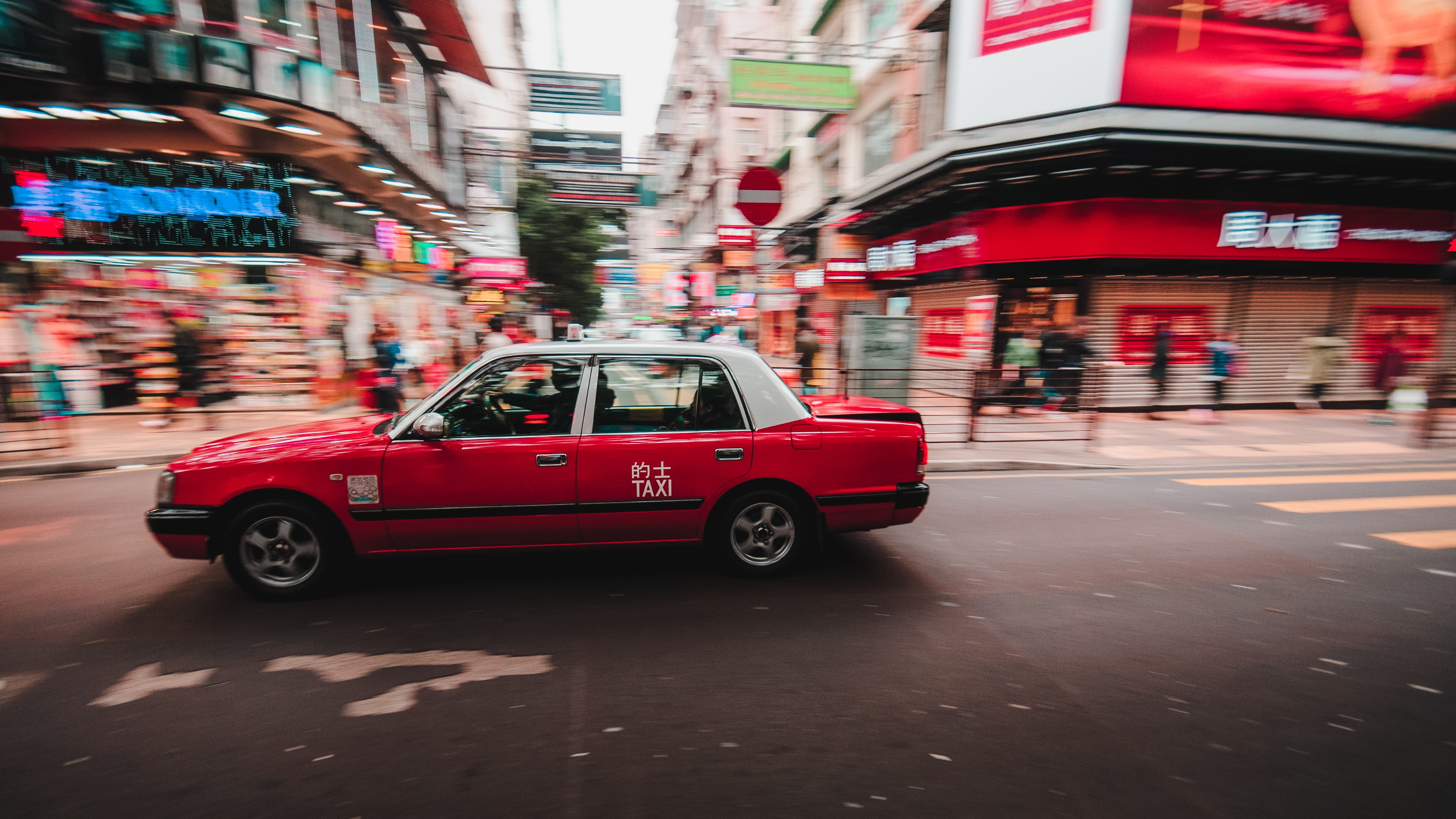 red and white sedan