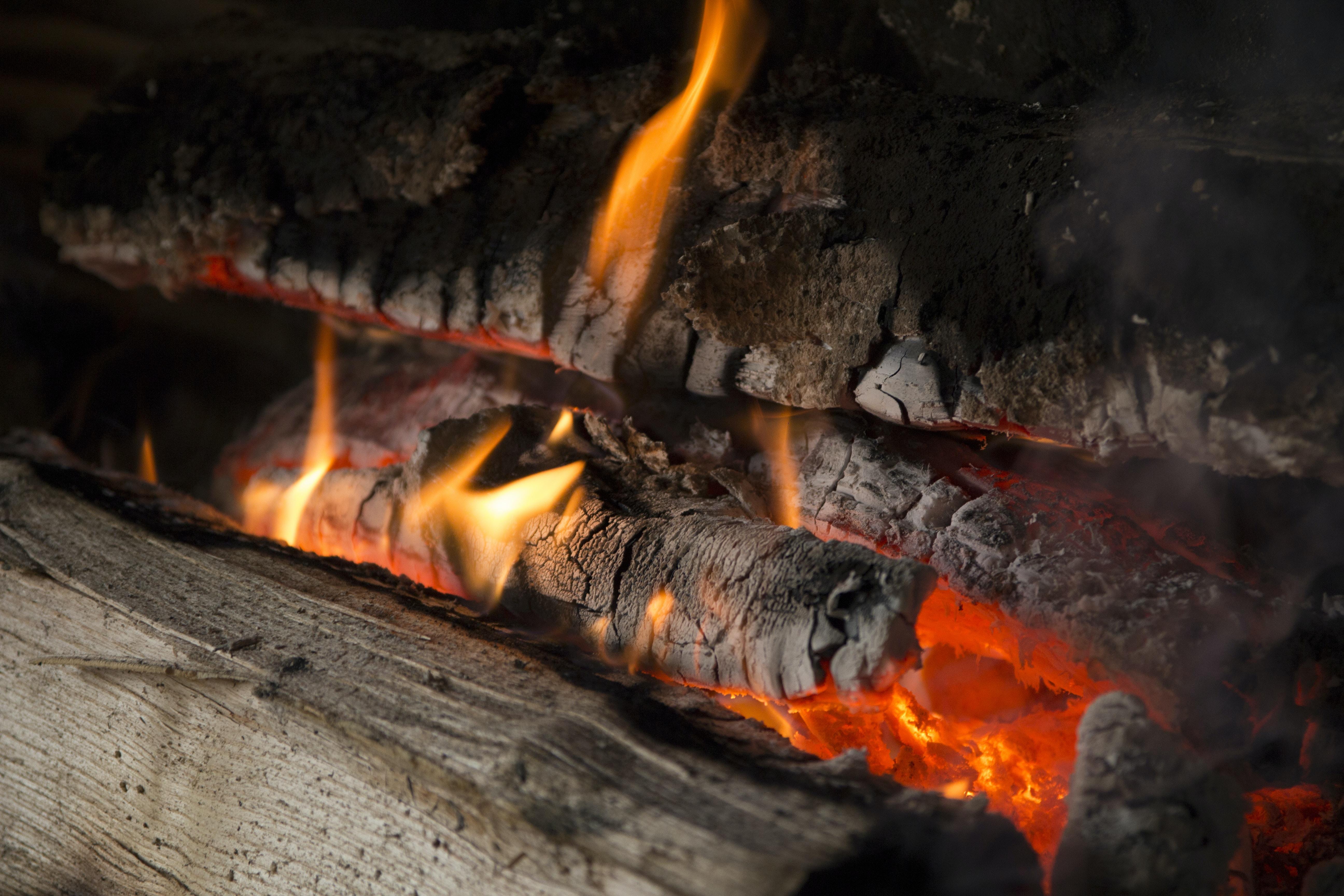 lit-up firewoods