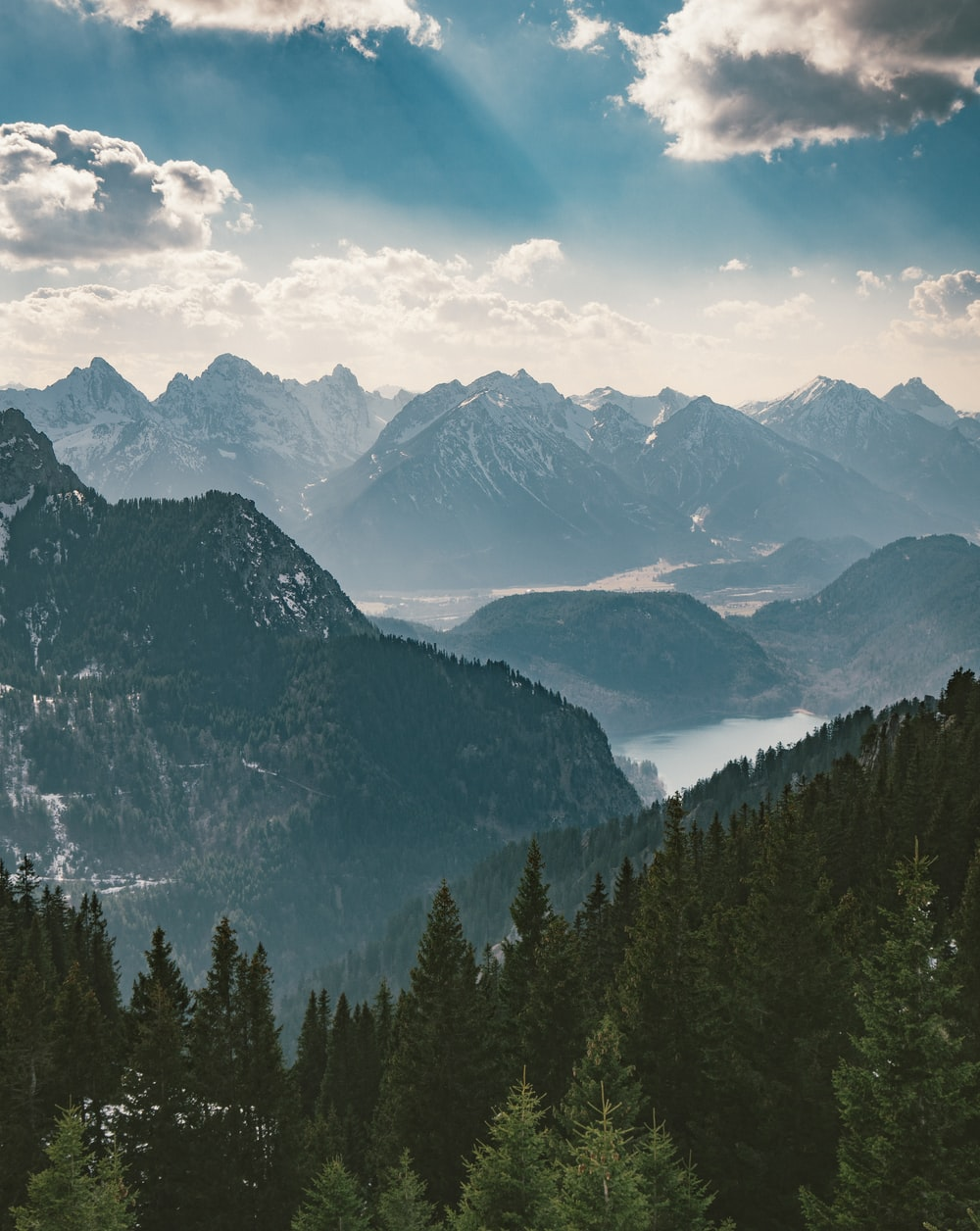 landscape photography of mountain and green trees