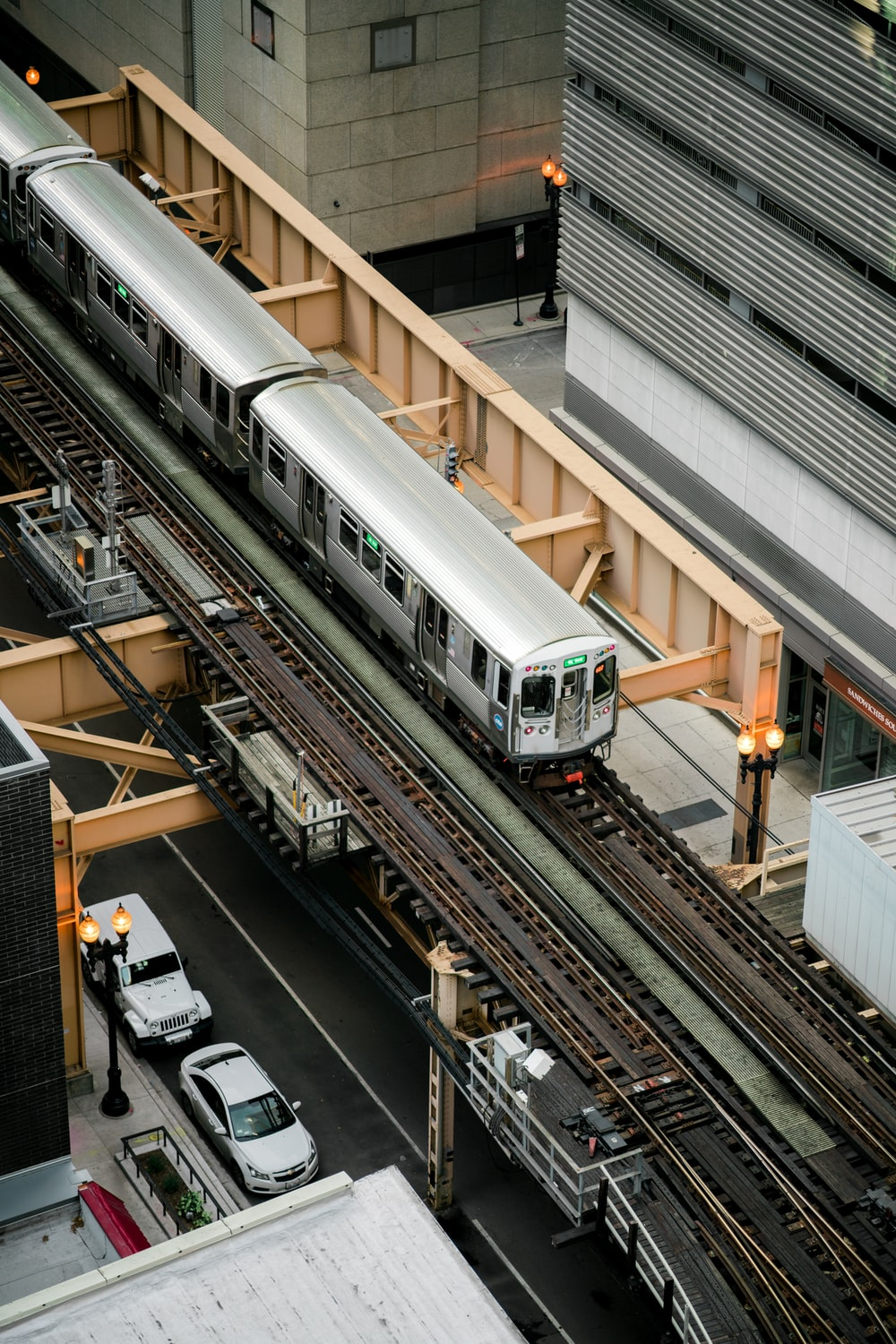 aerial view of gray train
