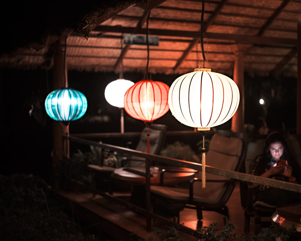 four pendant lamps during night