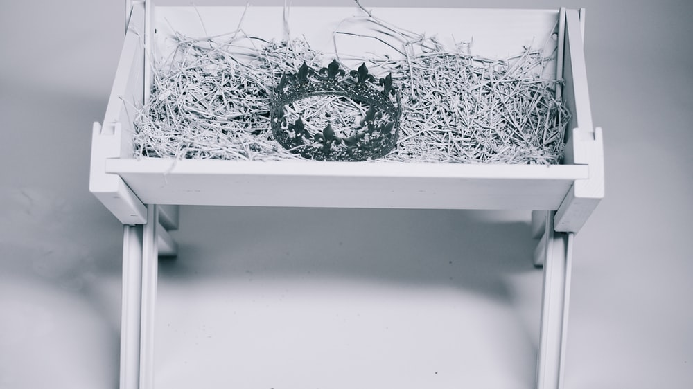 grayscale photo of crown in bassinet