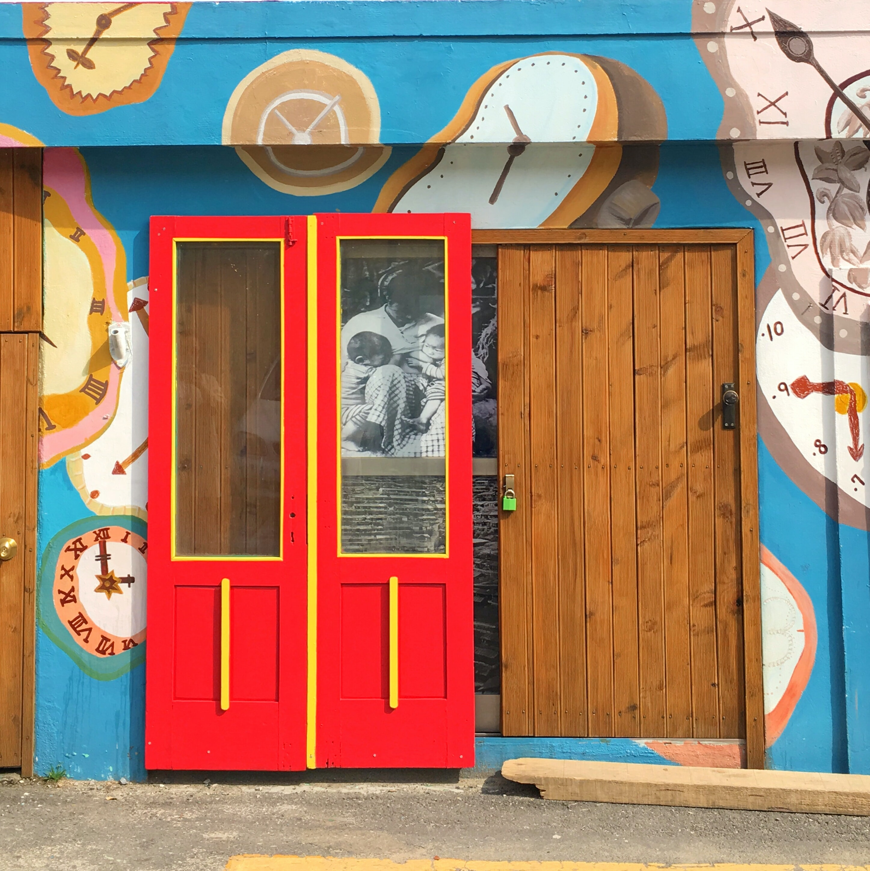 red and brown wooden doors