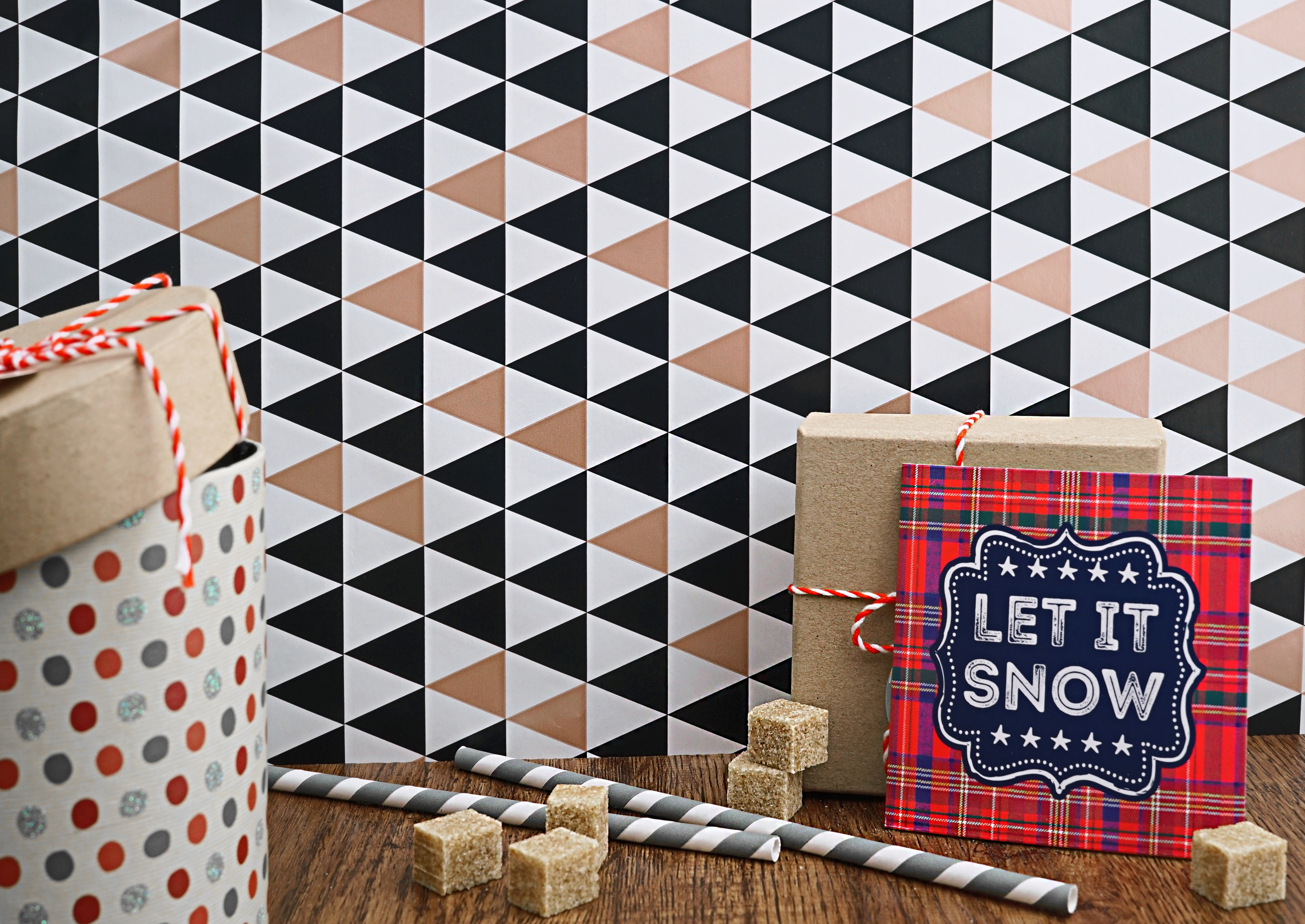 red and black Let It Snow greeting card artwork