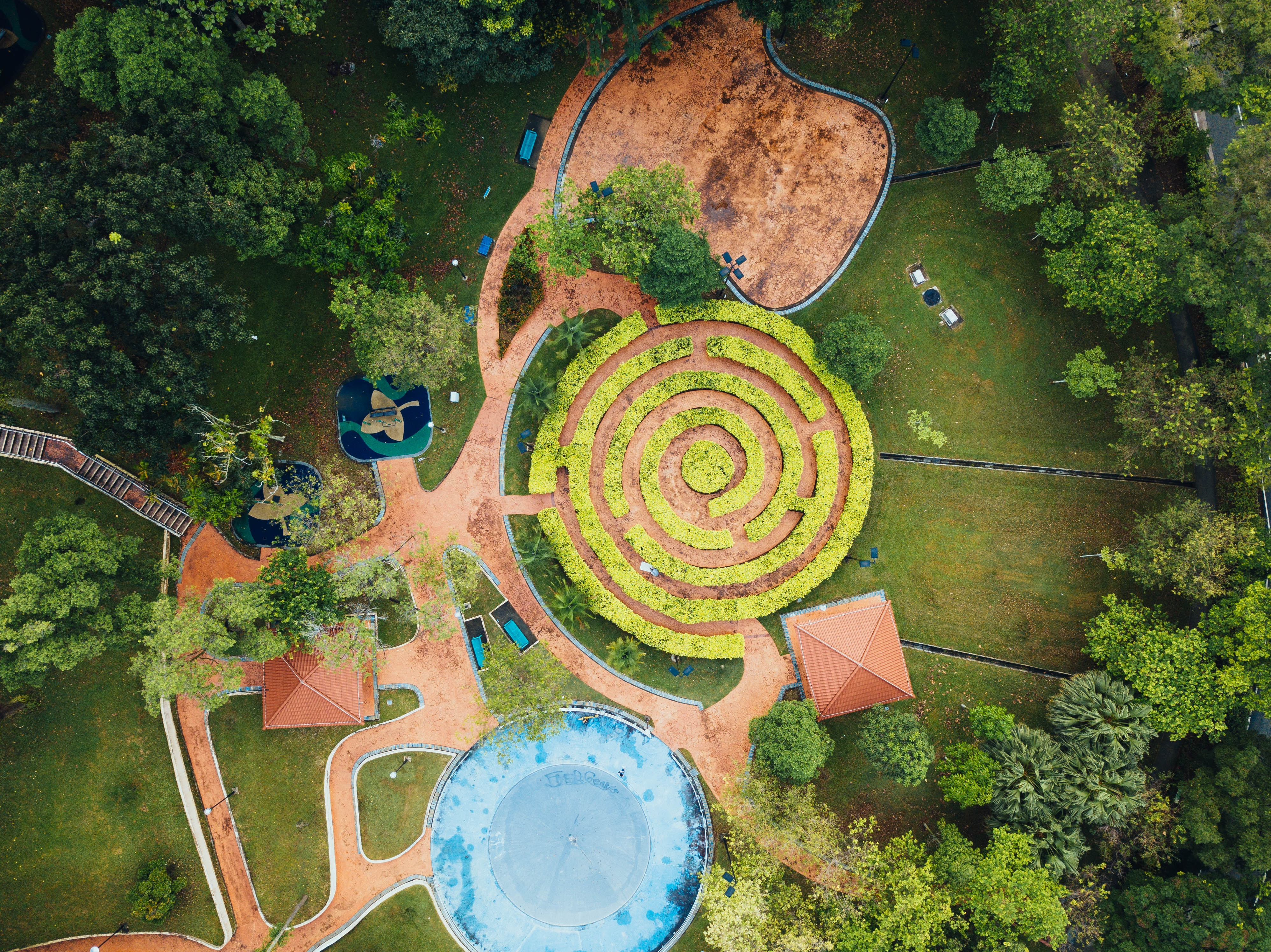 aerial photography of garden