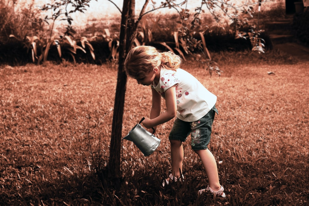 girl watering tree