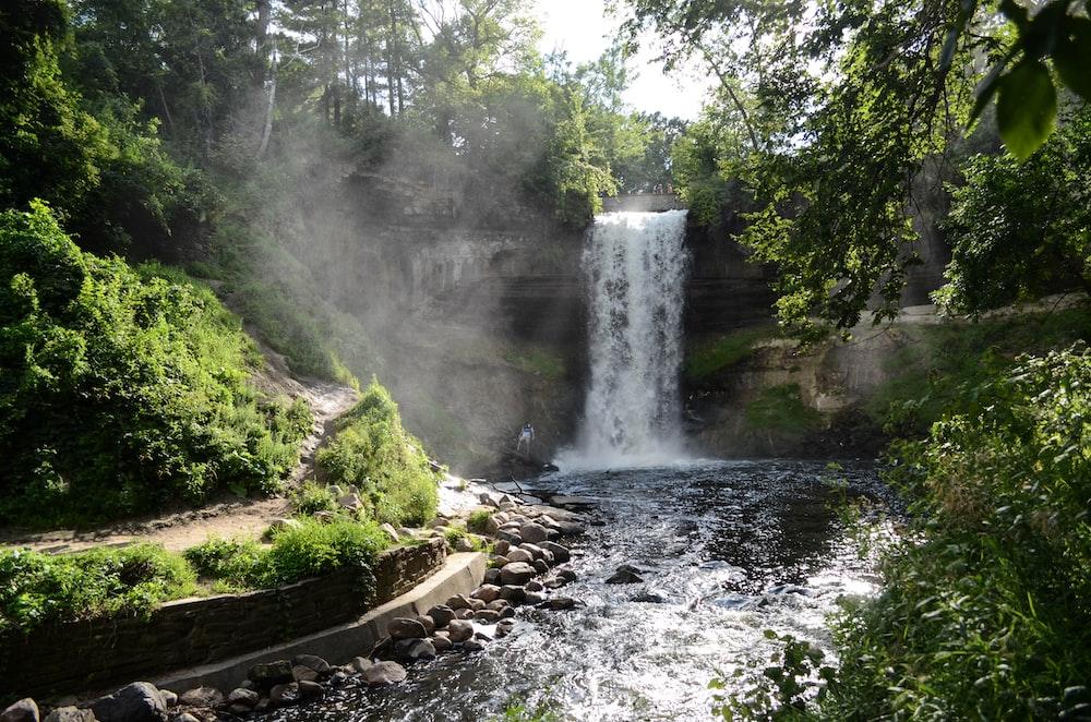 landscape photography of waterfalls near plants