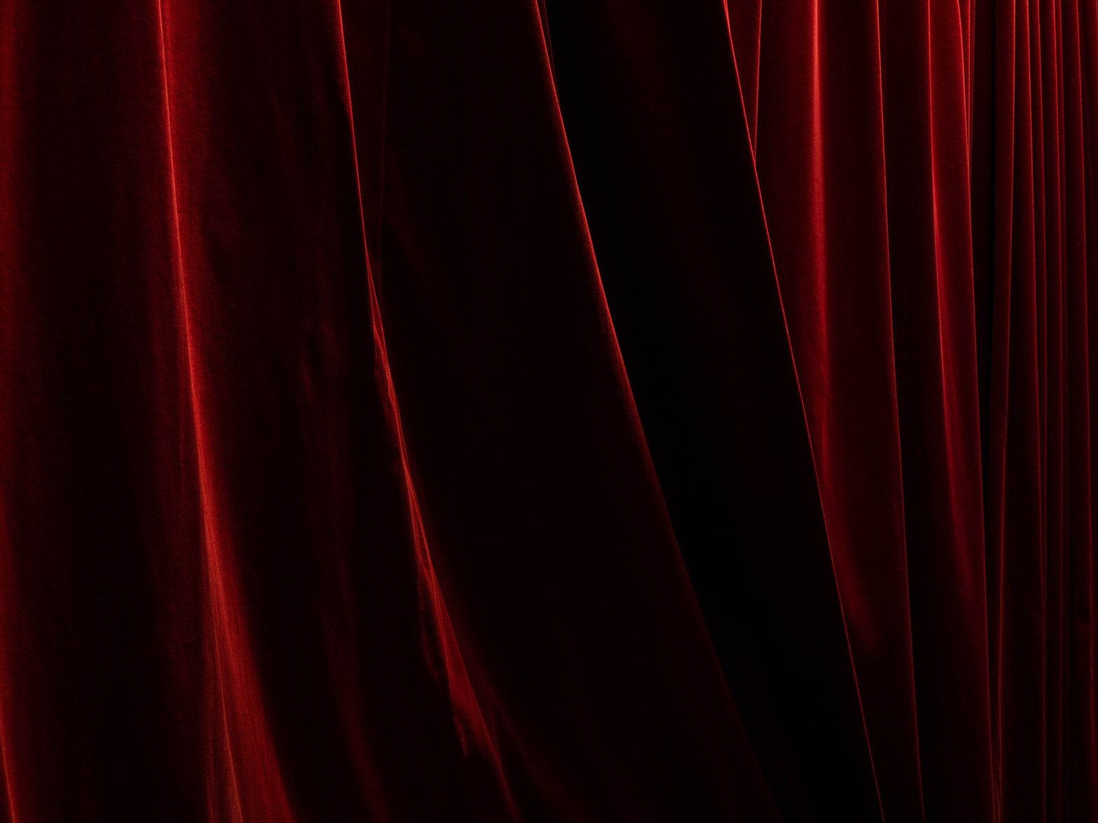 red curtain used for diy projector screen