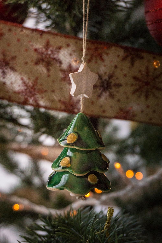green Christmas tree hanging decor hang on Christmas tree
