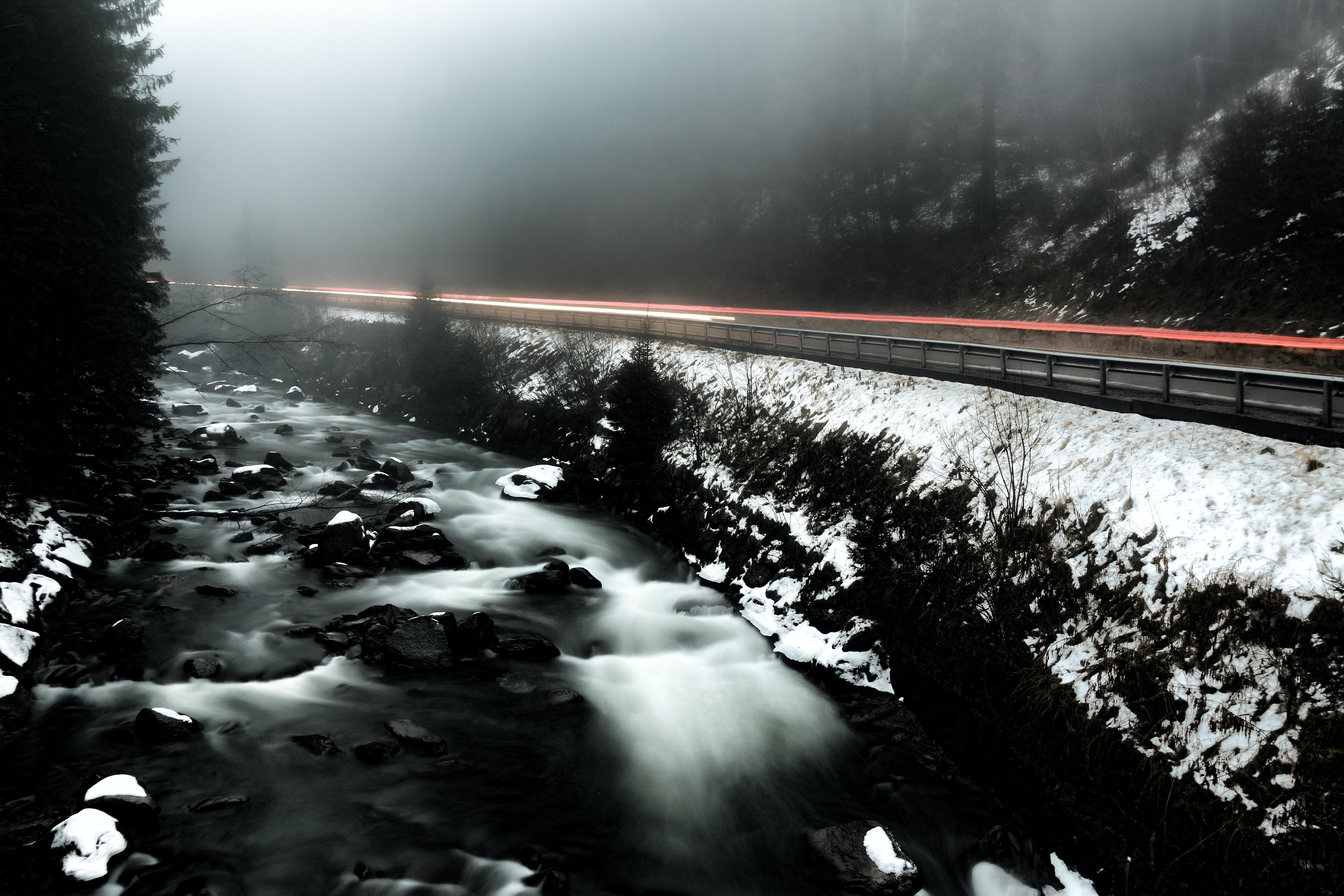 road beside river covered with snow and fogs surrounded by trees