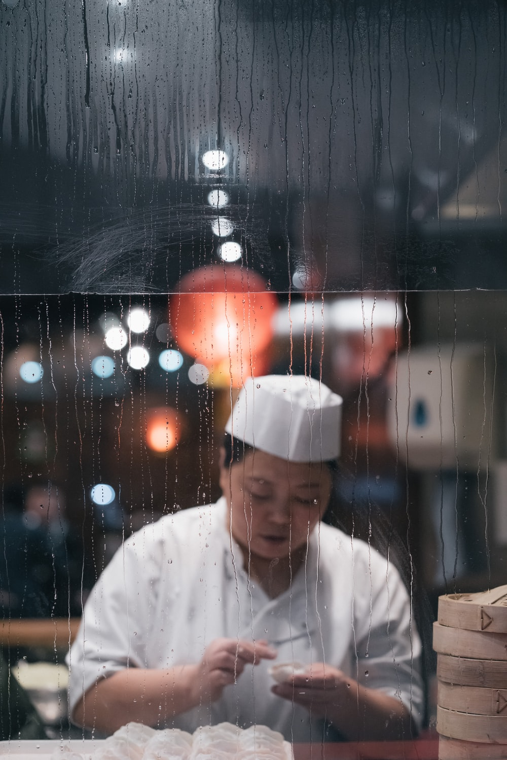 woman chef reflection from mirror