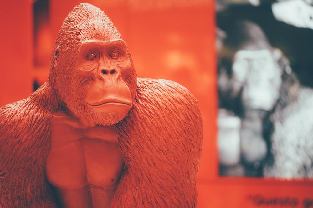 brown gorilla figurine with red background