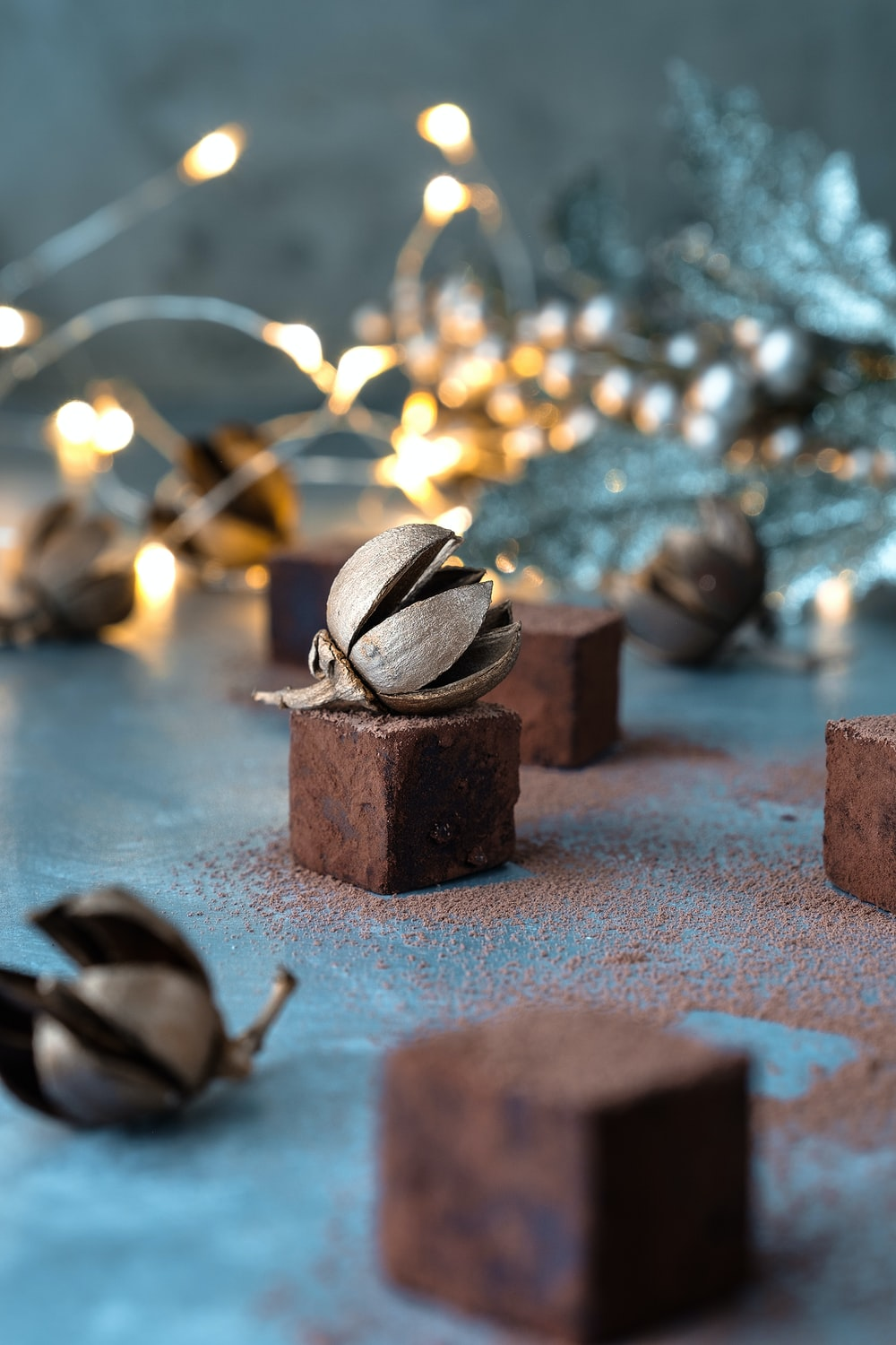 selective focus photo of gray nut ornament