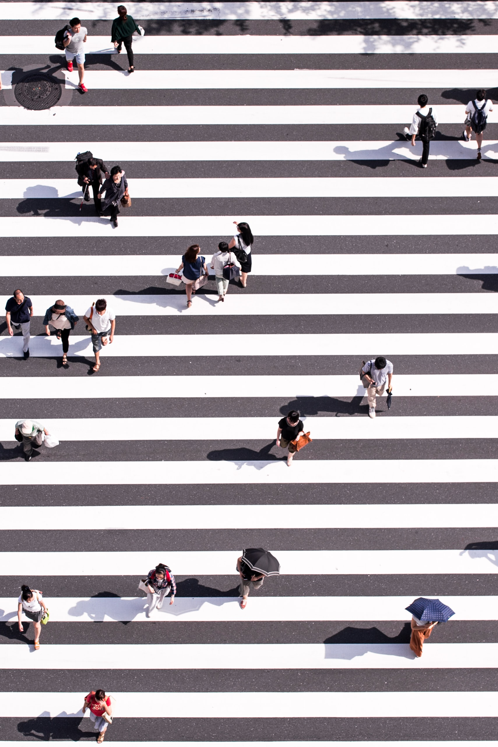 aerial view photography of group of people walking on gray and white pedestrian lane