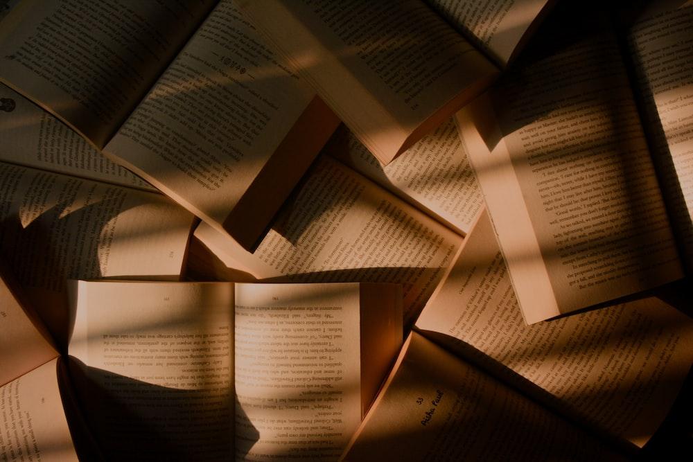 brown books closeup photography