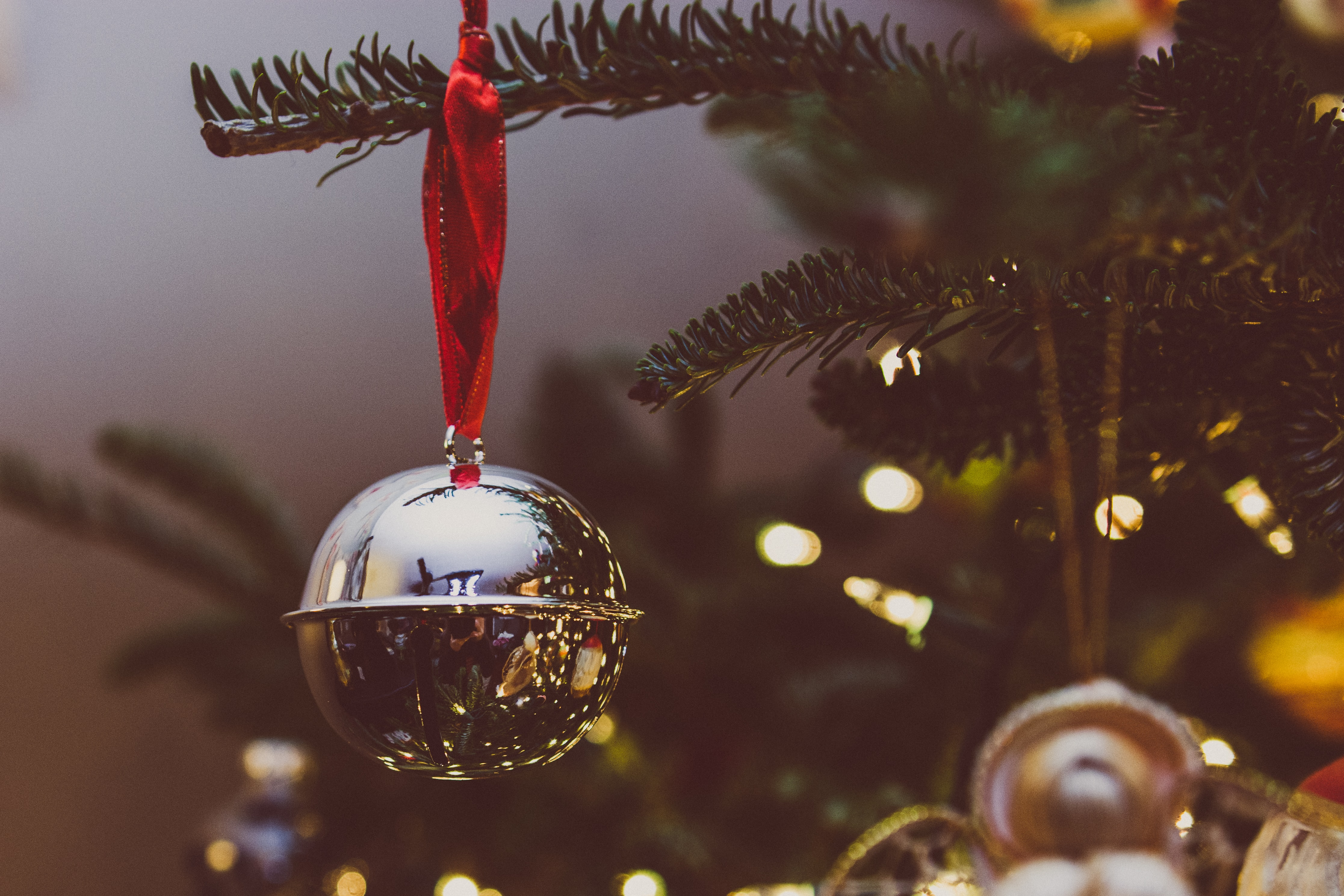 bokeh photo of gray bauble