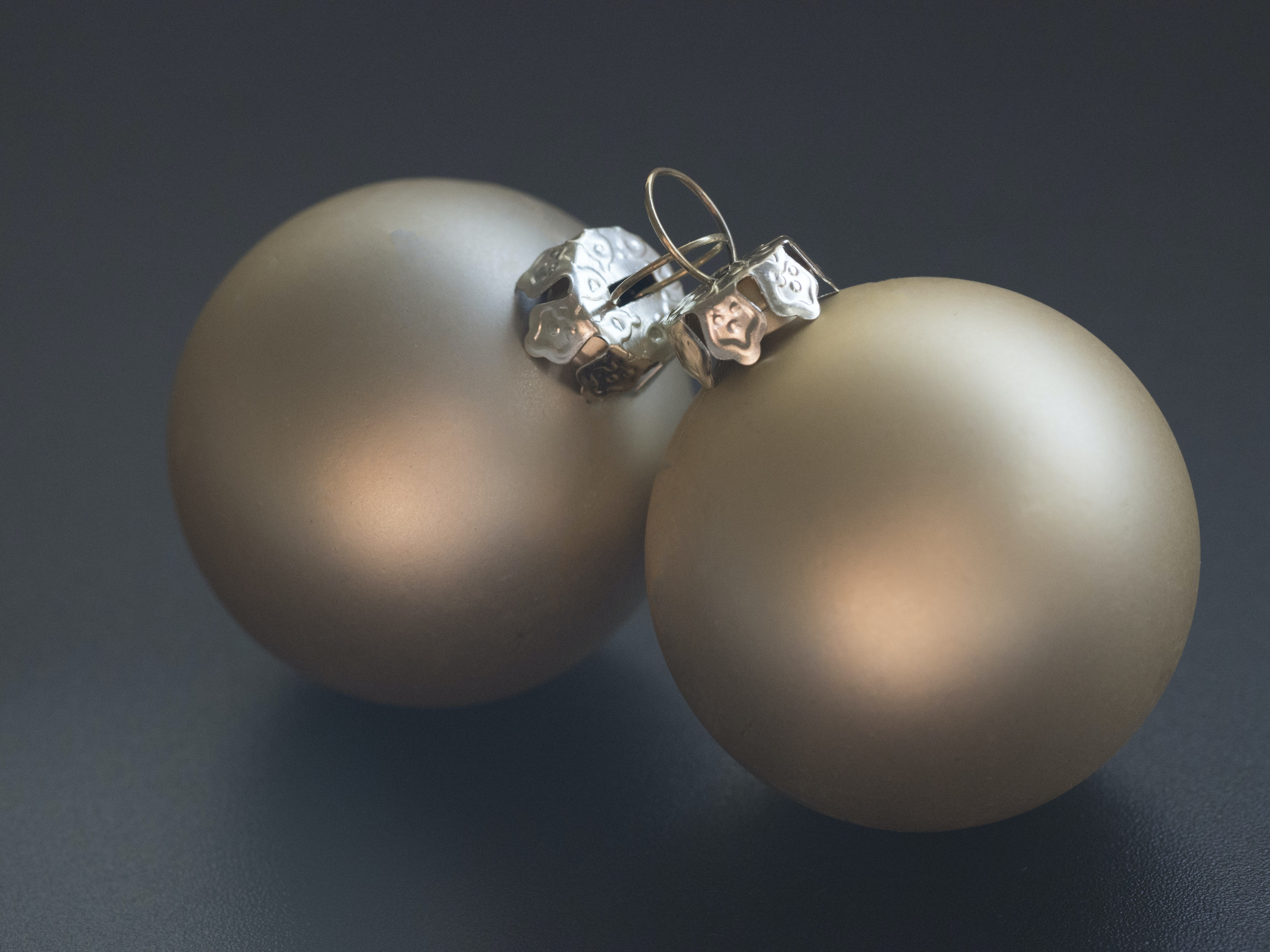 pair of gray baubles