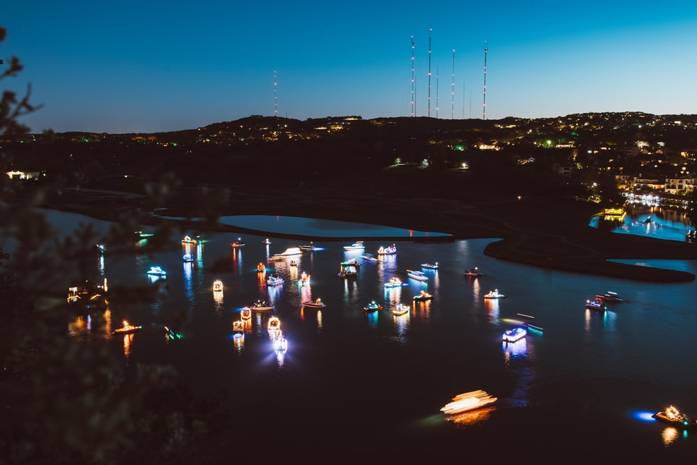 aerial view of boats during night