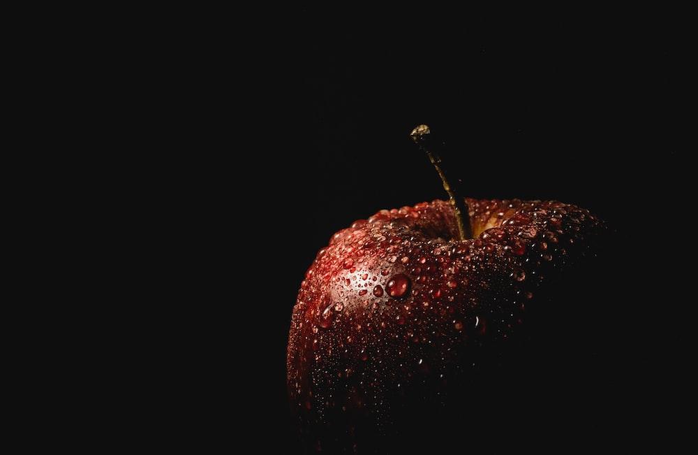 droplet of water on honeycrisp apple