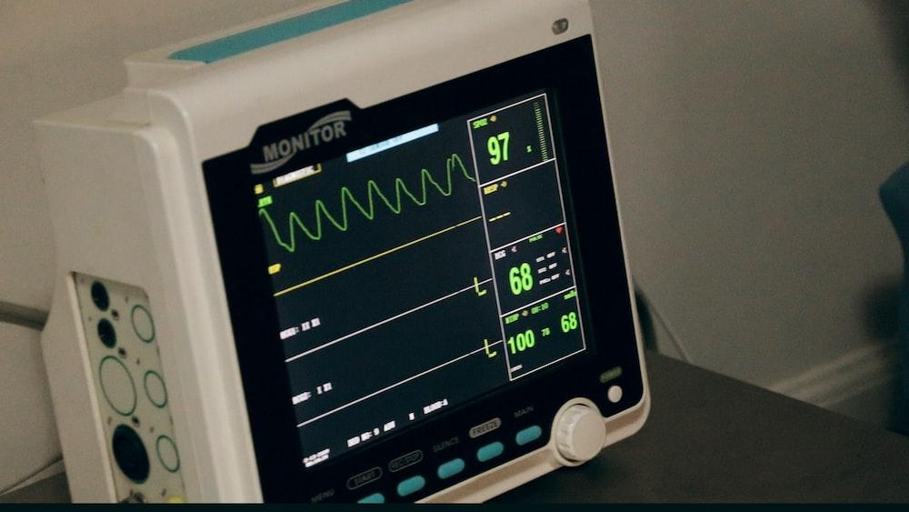black and white digital heart beat monitor at 97 display