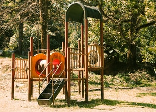 toddler's brown and orange outdoor playset