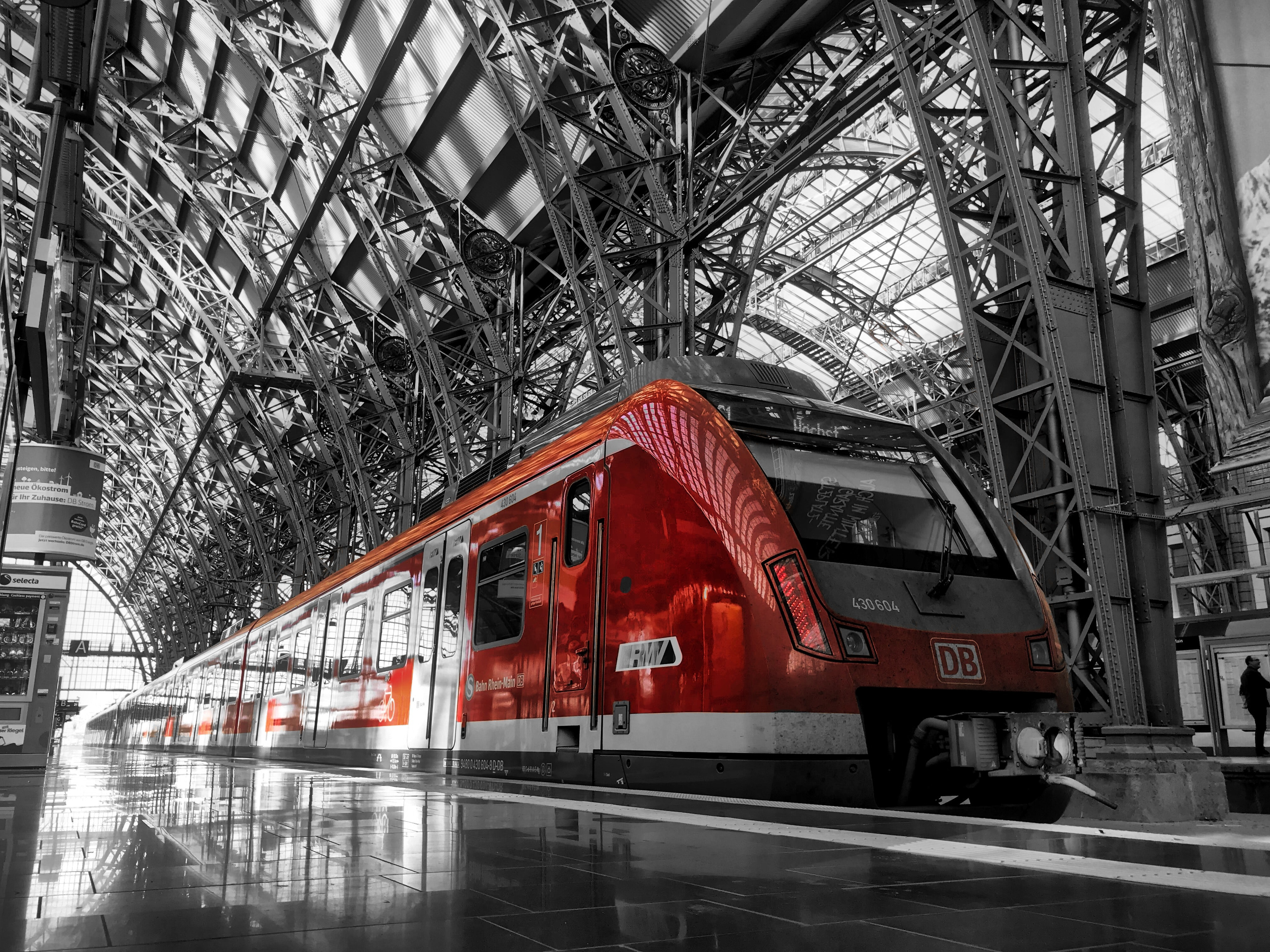 red train in train station