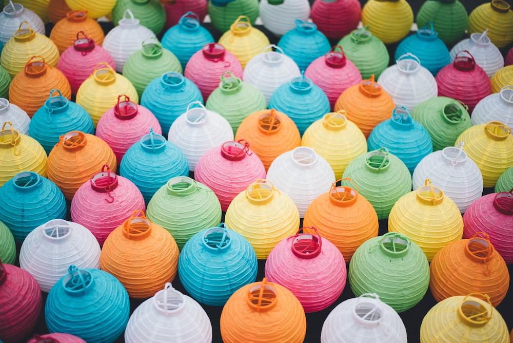 assorted-color sky lantern lot