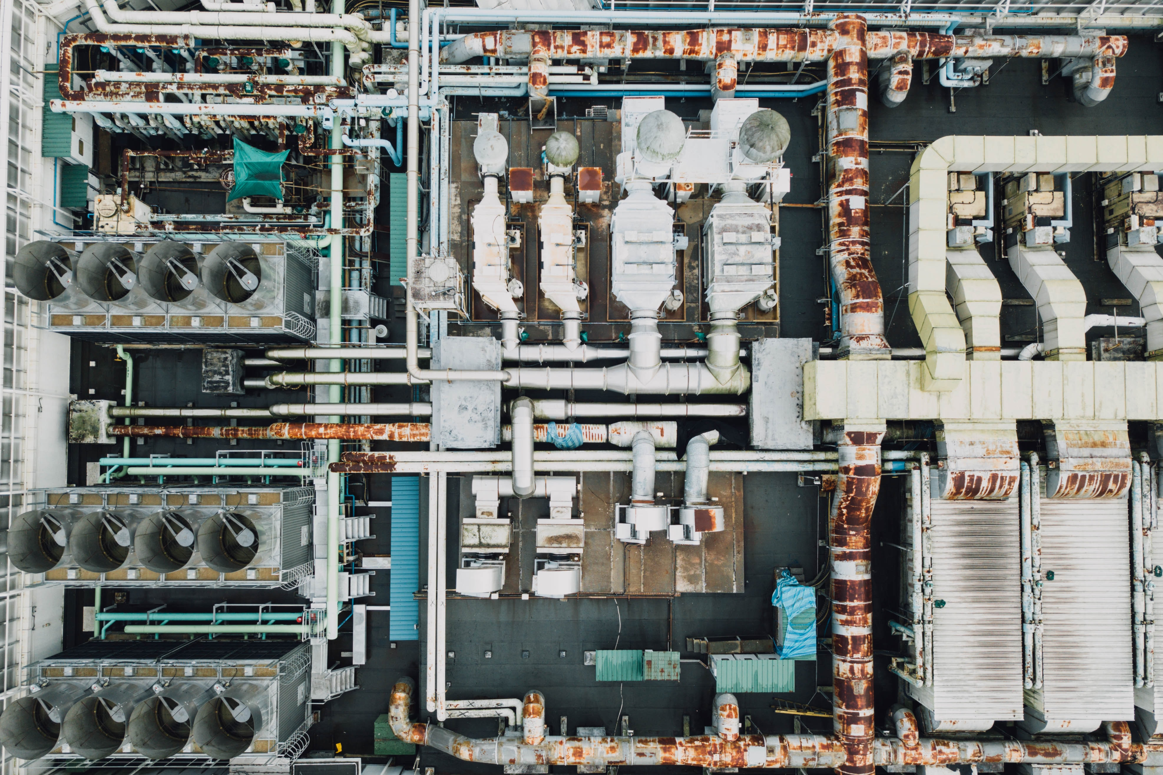 aerial view of industrial factory