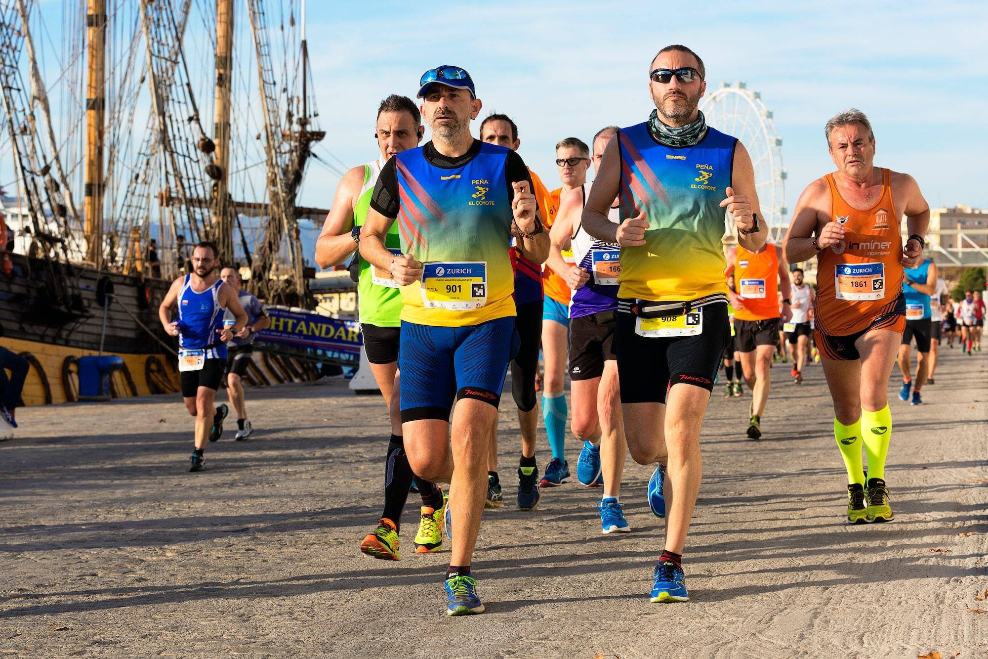 Durante la Maratón de Málaga, celebrada el 10-12-2017 a su paso por el Palmeral de las Sorpresas en el Puerto de Málaga.