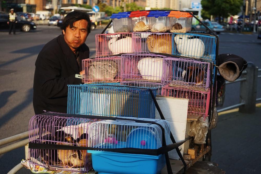 man in black jacket stands beside assorted-color rabbit lot