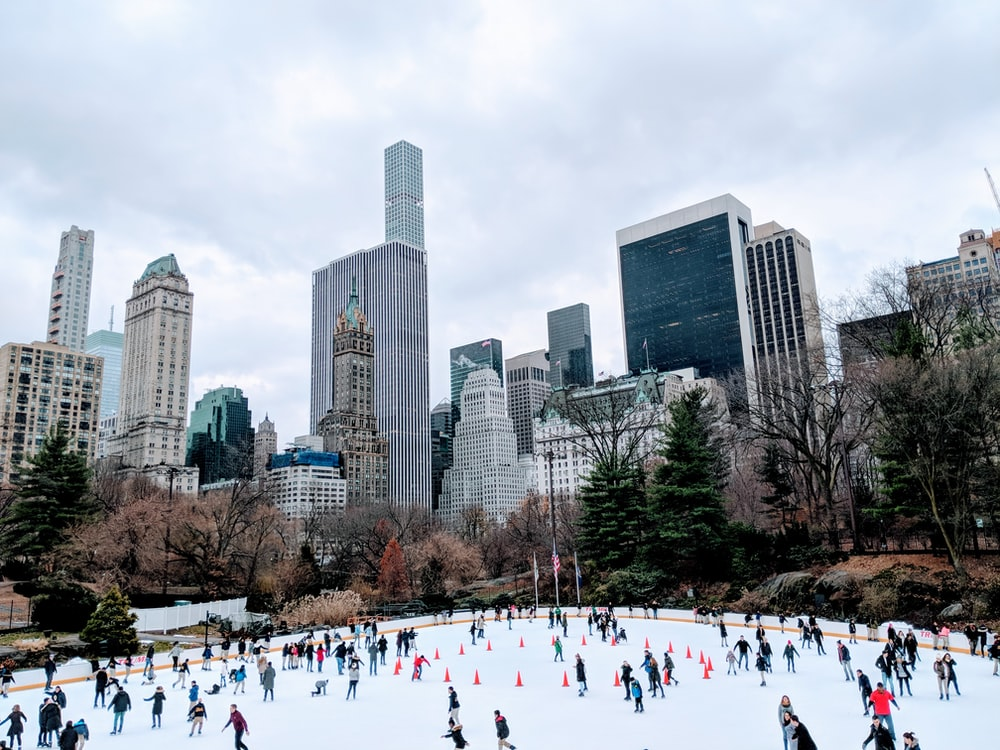 group of people skating on ice