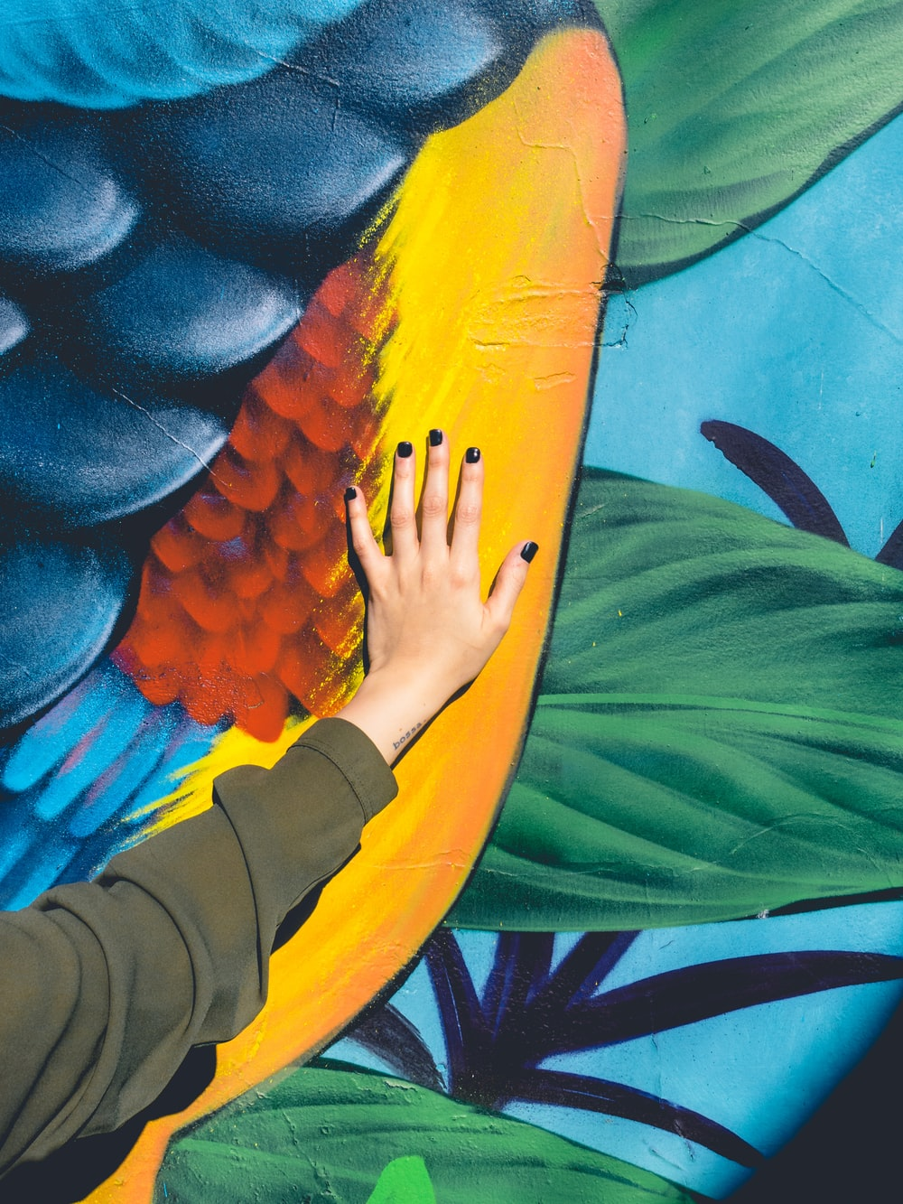 person hand on painting