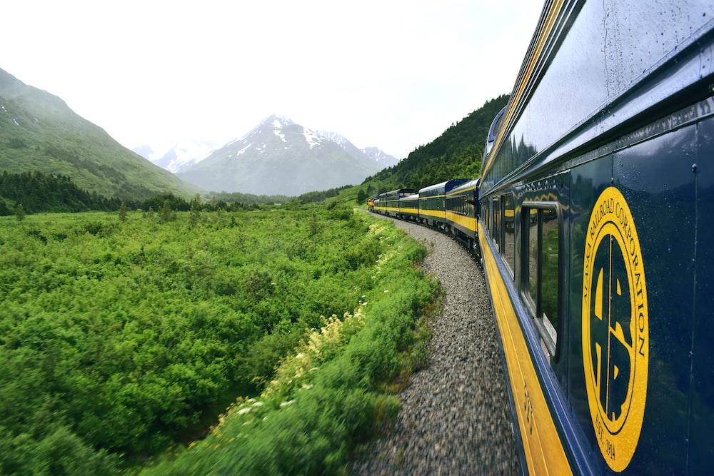 train near mountains