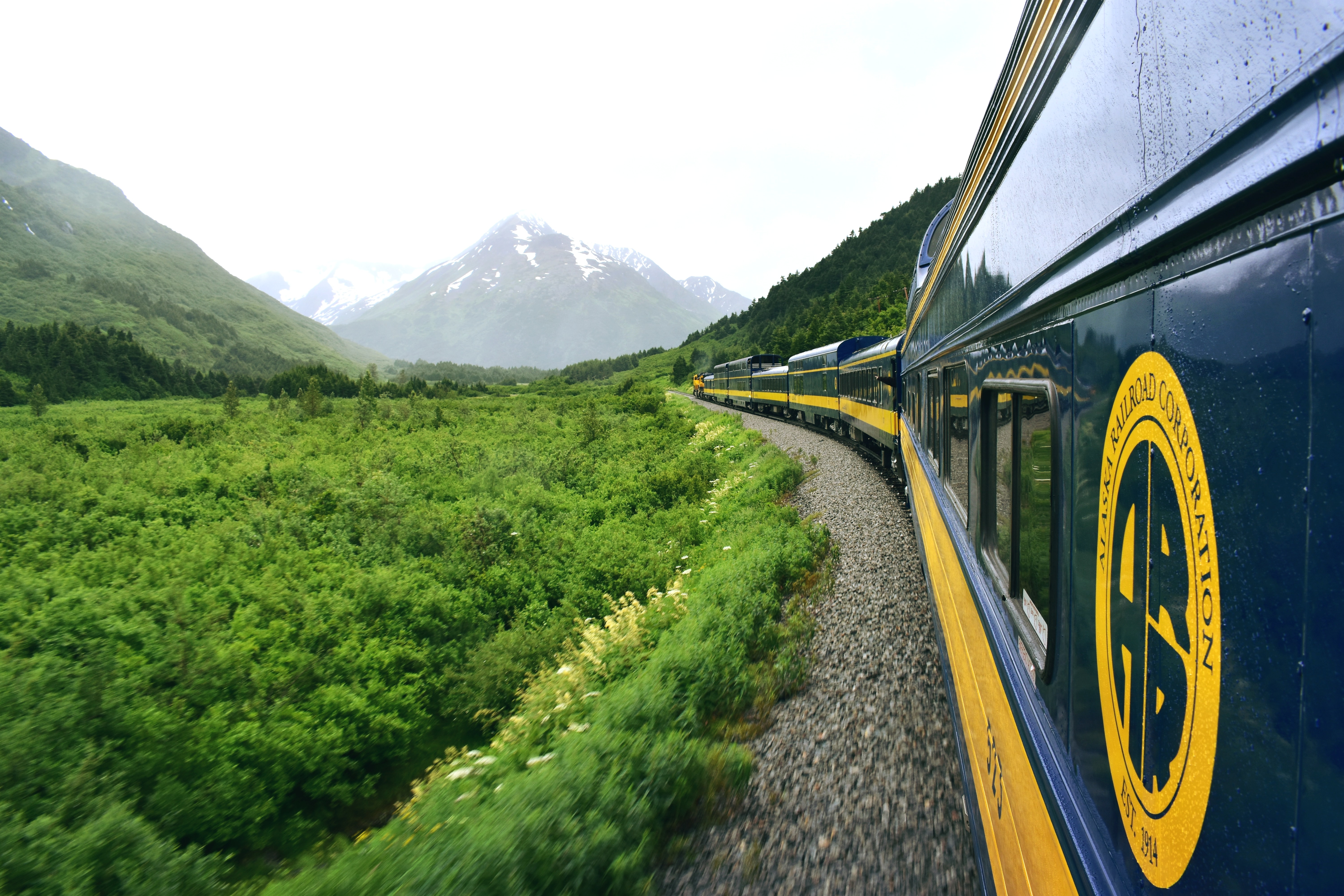 train near mountains
