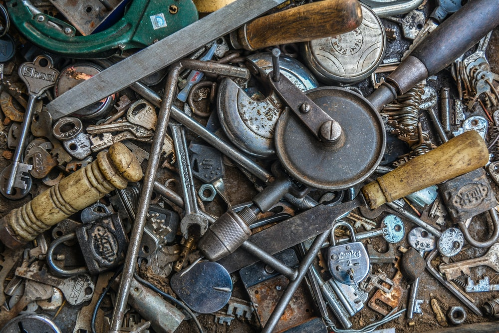 assorted-color grey metal tools