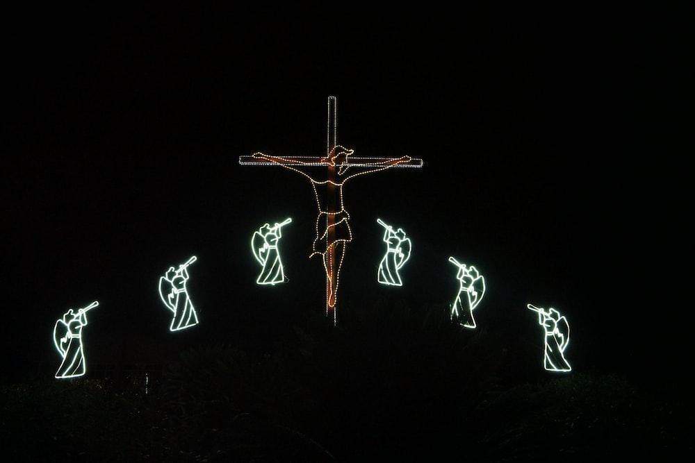 crucifix and angel lights