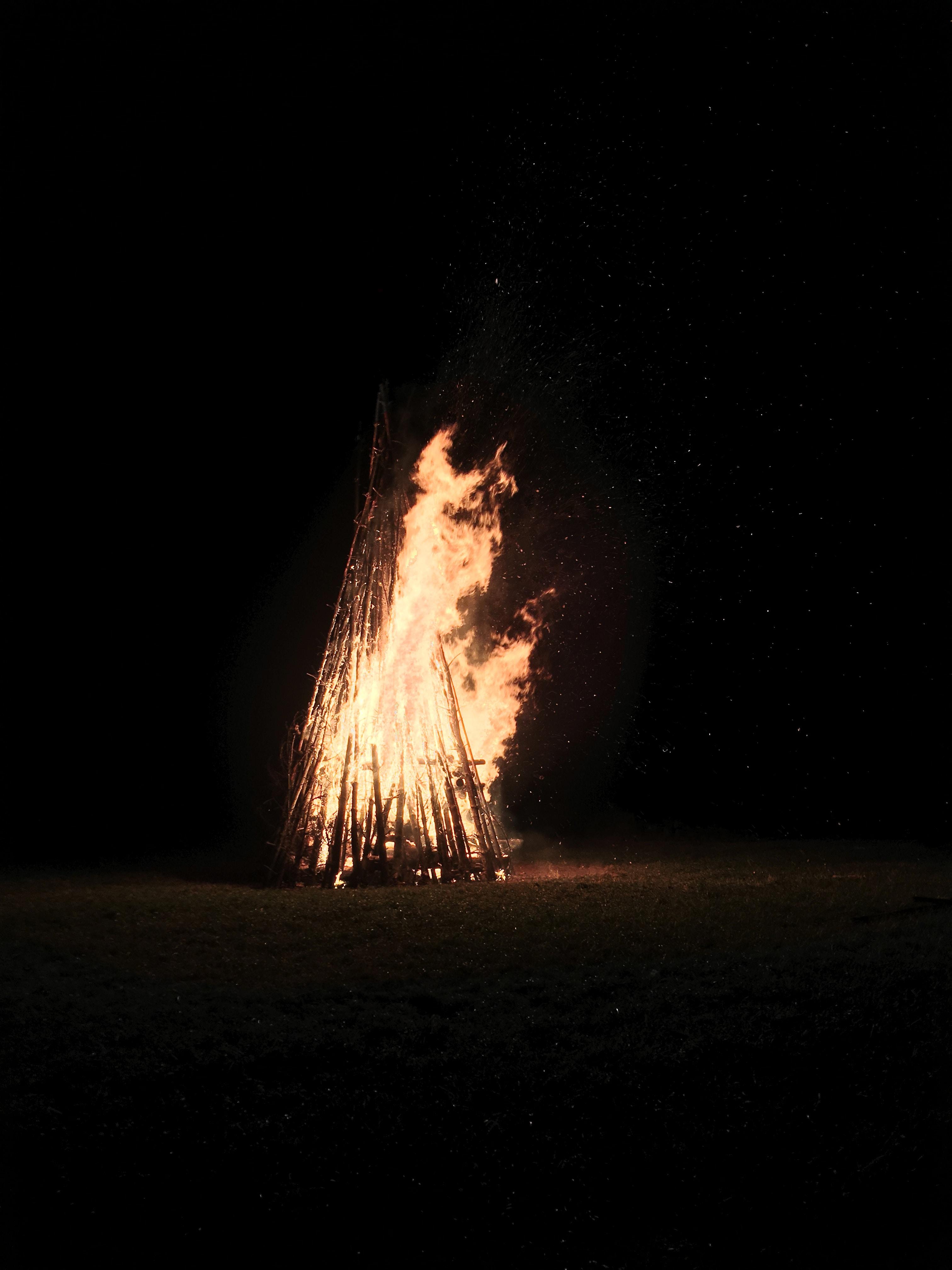 firepit taken at nighttime
