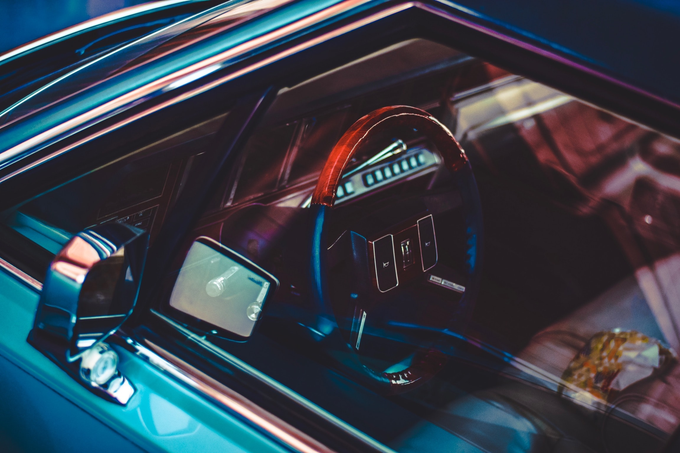 iridescent vehicle interior closeup photography