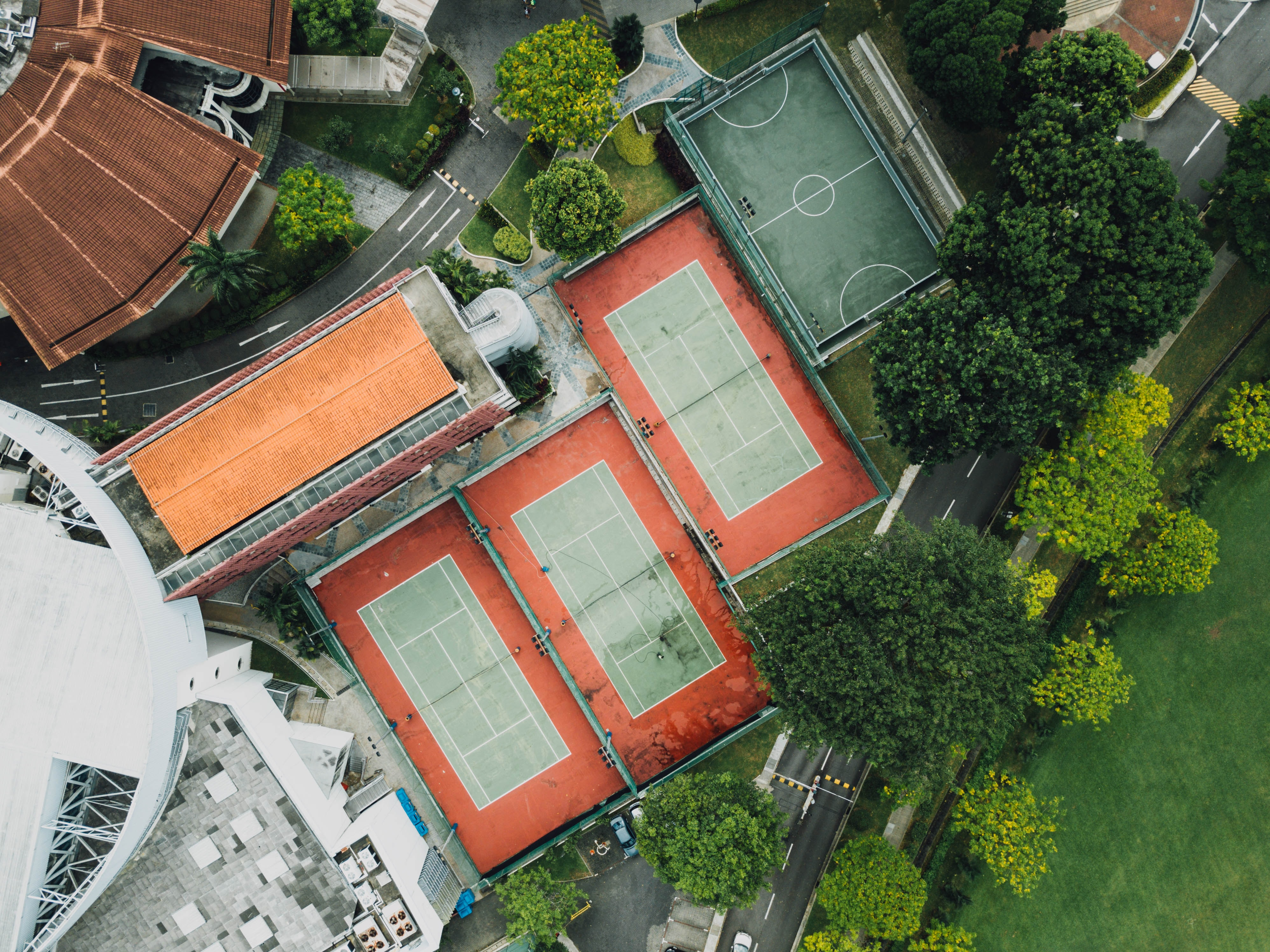 aerial view of basketball and tennis courts