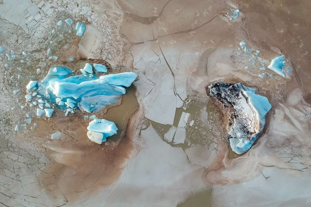 aerial photography snow and bodies of water