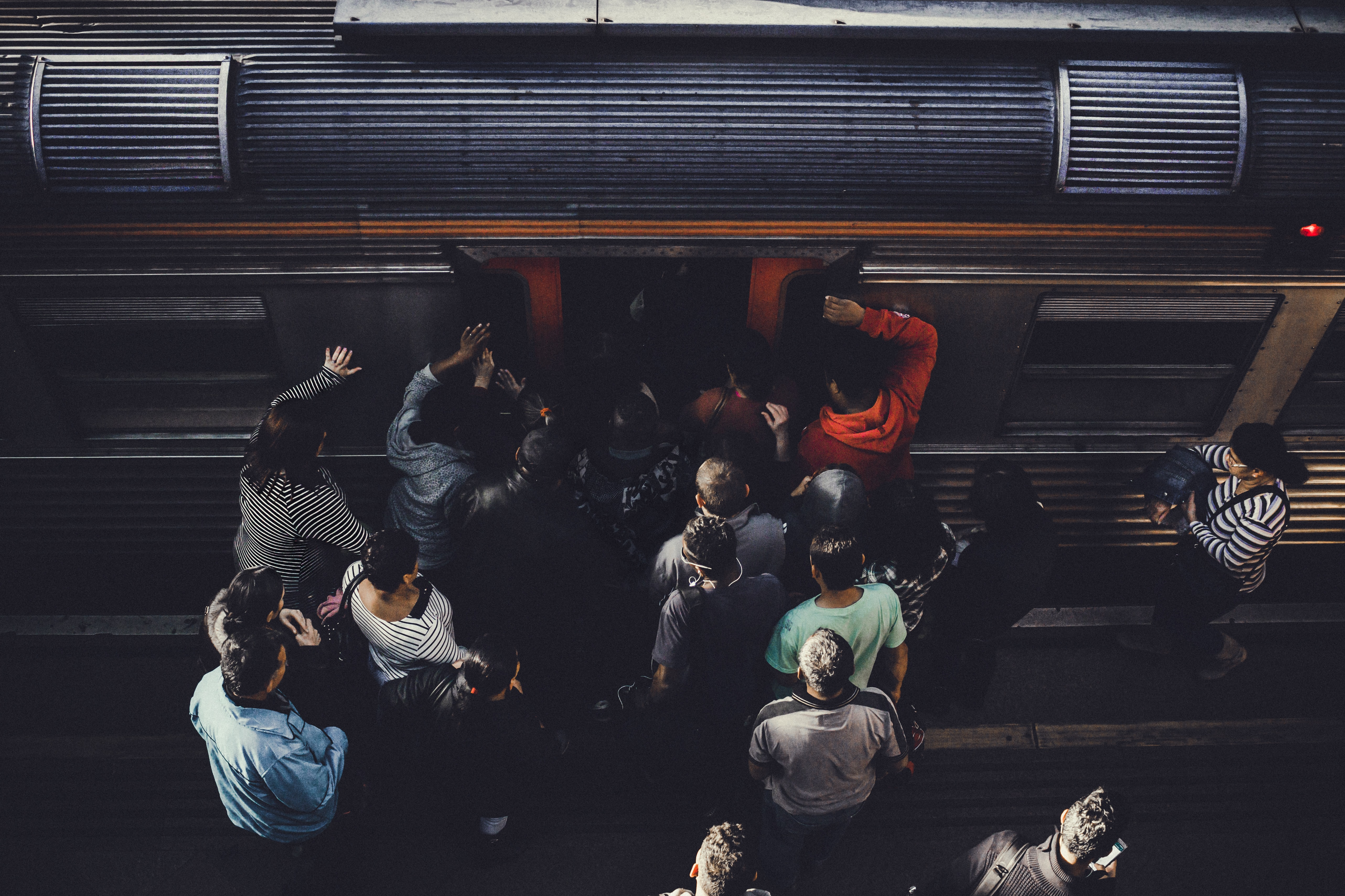 people entering train