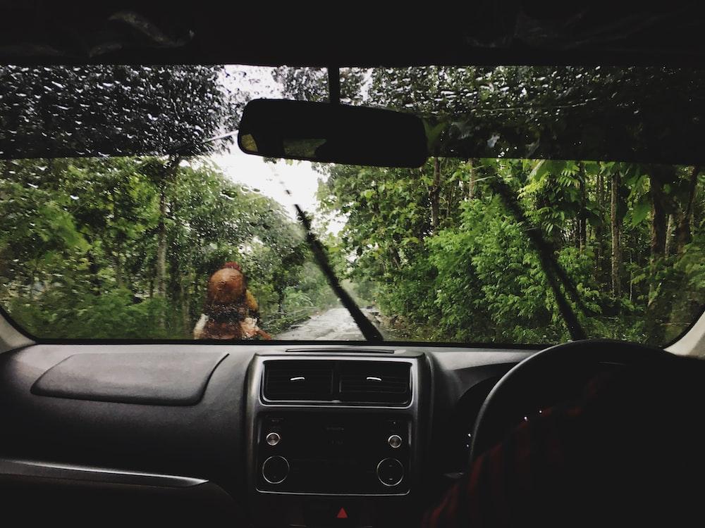 black vehicle dashboard