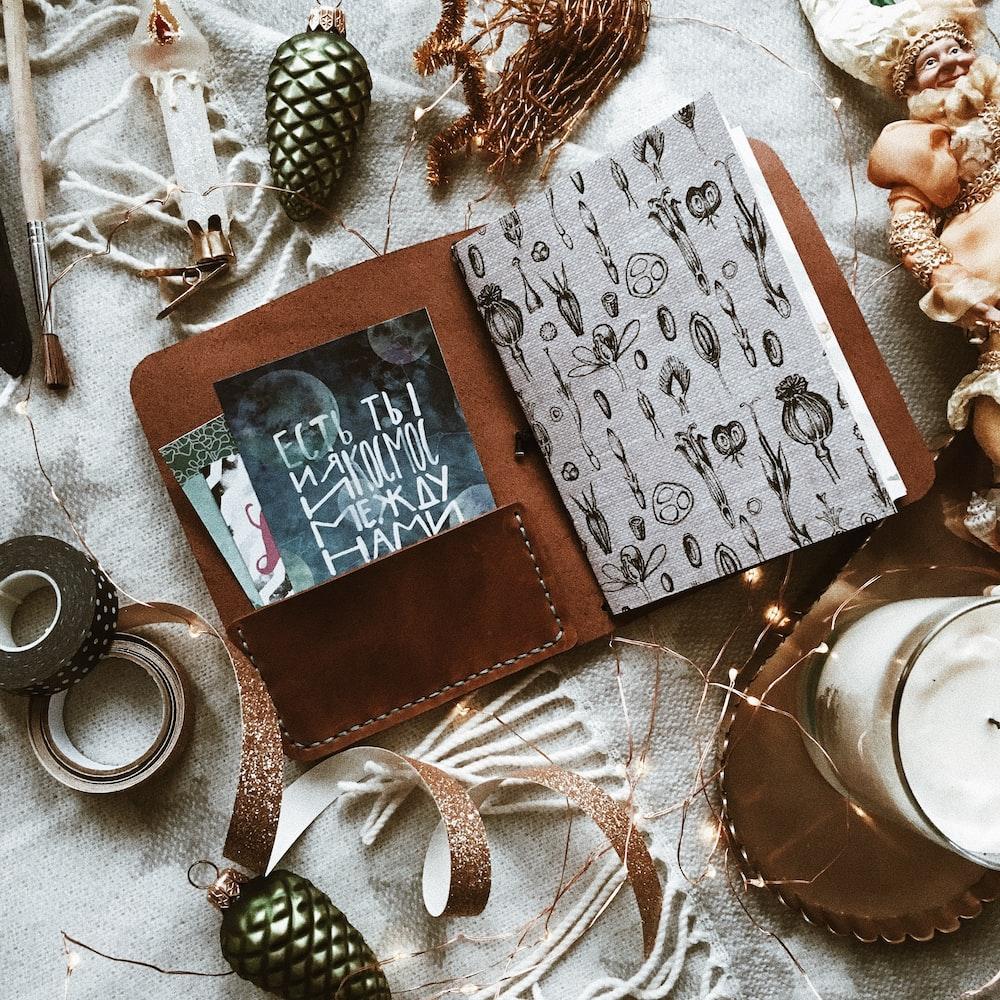 brown book holder