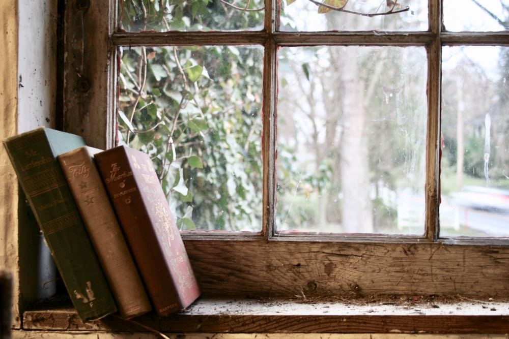 three books leaning on glass window