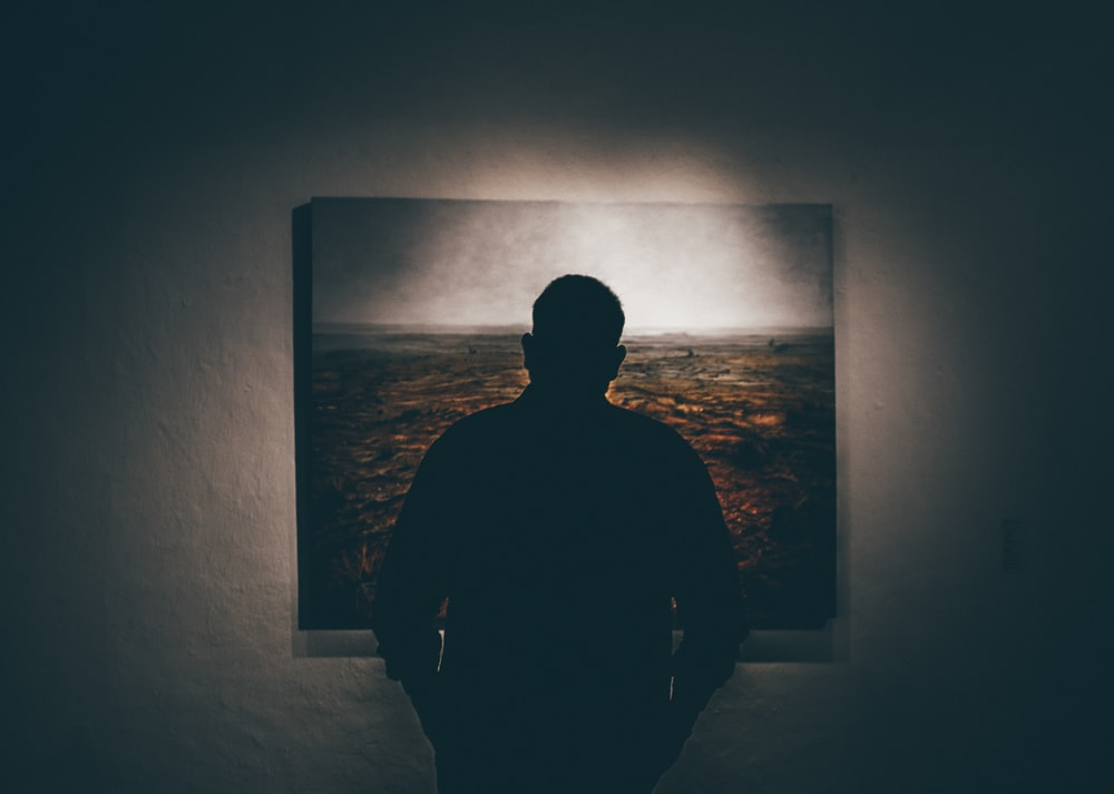 silhouette of man standing in front of painting hanged on wall