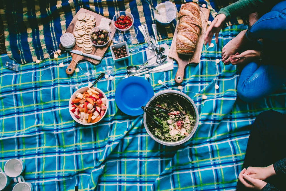 aerial photography of of foods and plate