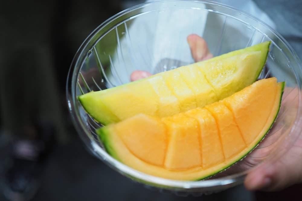 two slices of melon fruits