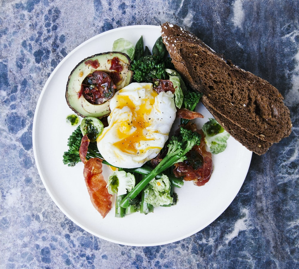 vegetable salad served on plate