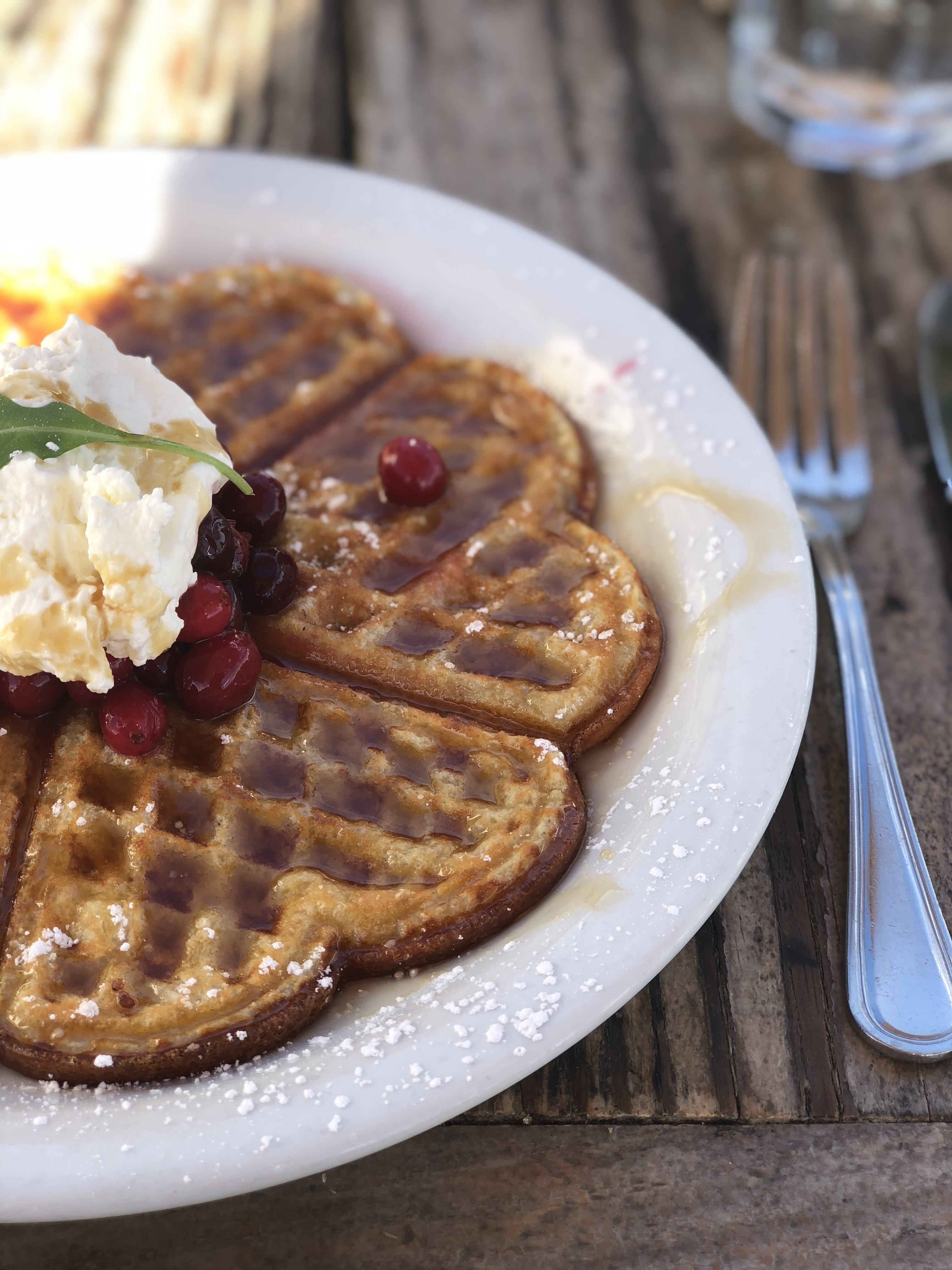 selective focus photography of belgian waffle on plate