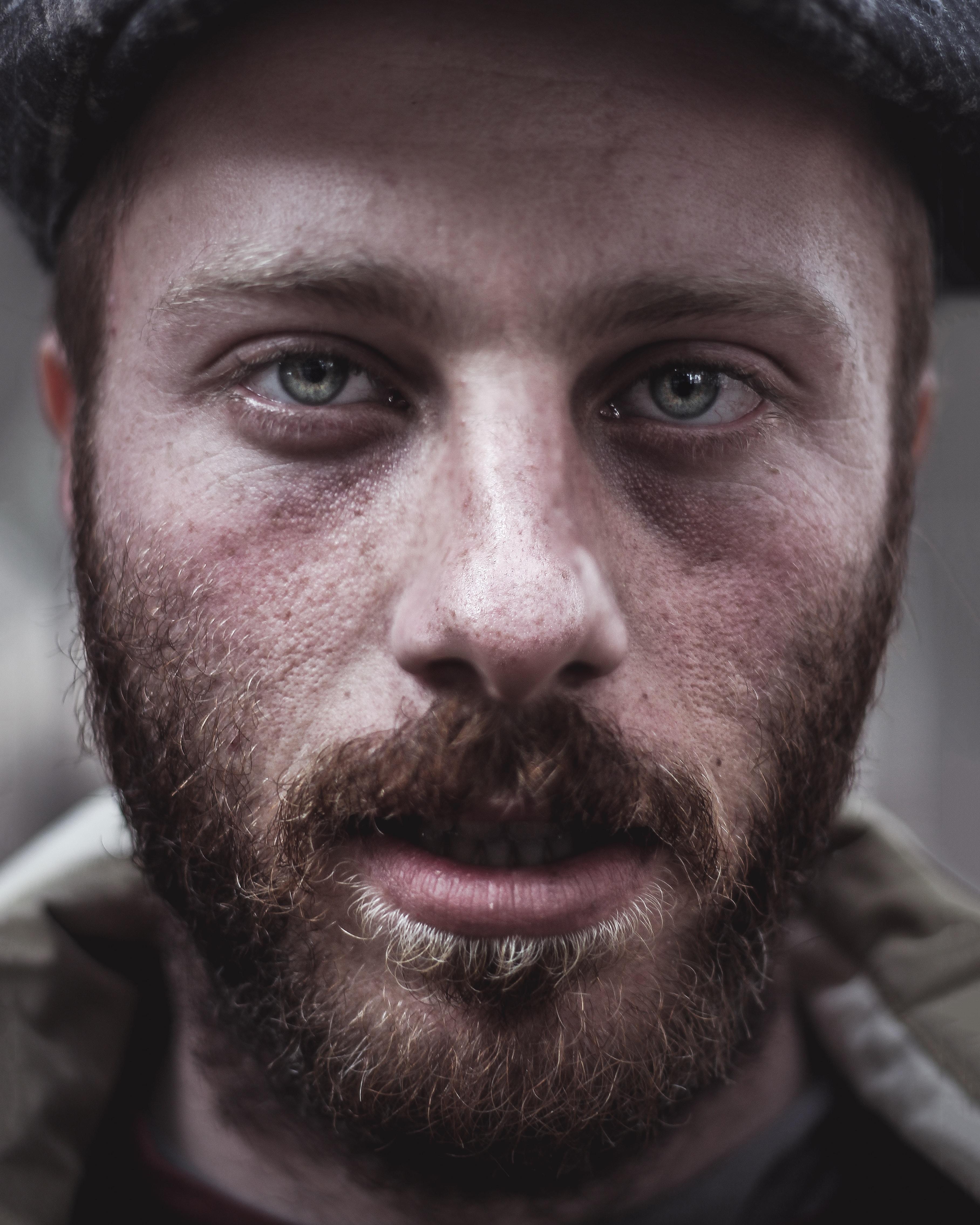 macro shot photography of face